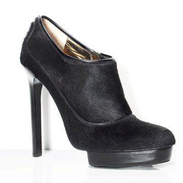 黑色马毛高跟鞋
