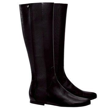 黑色平底长靴