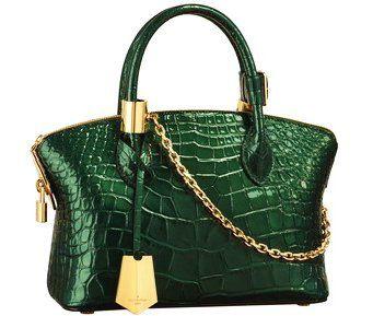 2011秋冬新款绿色漆面鳄鱼皮Lockit手袋