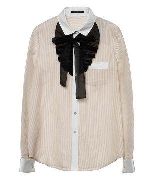棉麻混纺系领衬衫