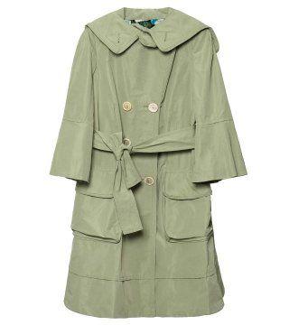 哑光拉西米尔丝绸七分袖大衣