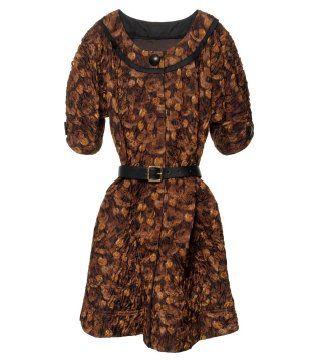 印花束腰连身裙