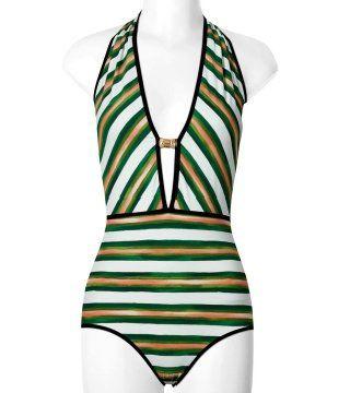 三色条纹连体泳衣