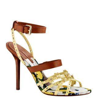 蝴蝶结饰黄色细带凉鞋