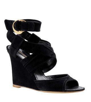 黑色铜扣饰裹带坡跟鞋