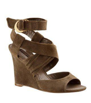 棕色铜扣饰裹带坡跟鞋
