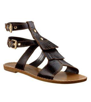 铜扣饰带平底凉鞋
