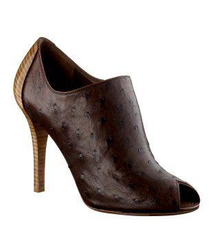棕色鸵鸟皮鱼嘴短靴