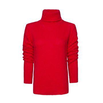 大红色立领套头针织衫