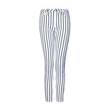 蓝白条纹长裤