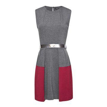 两色拼接款连衣裙