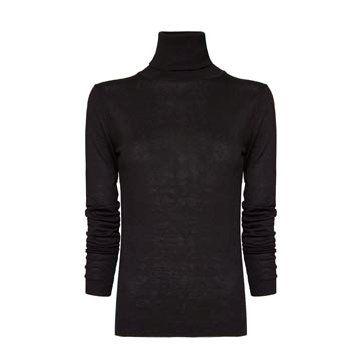 黑色针织高领衫