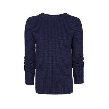深蓝色针织衫