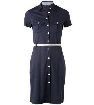 藏蓝色扣饰双口袋连身裙