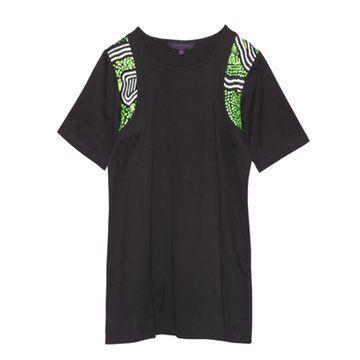 黑色插肩印花短袖T恤