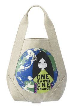 地球图形购物袋