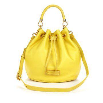黄色皮质手拎包