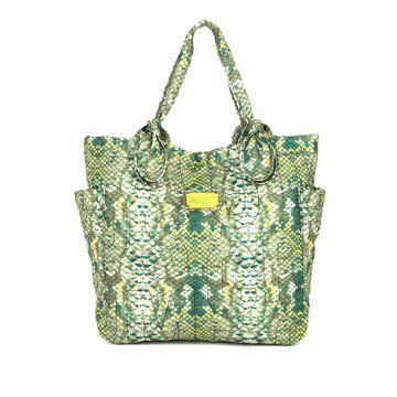 绿色蛇皮纹理手拎包