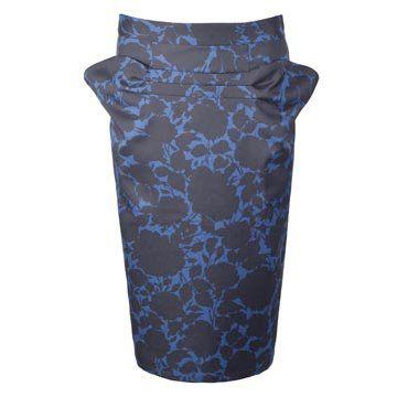 蓝黑印花半裙
