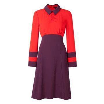 紫红拼色连衣裙