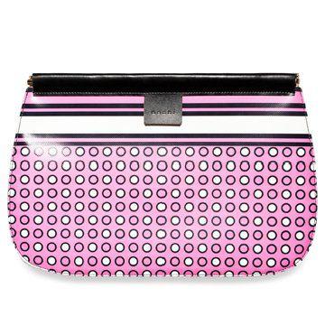 粉色小波点长款手拿包