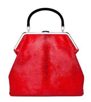 红色镀铬饰手拎包