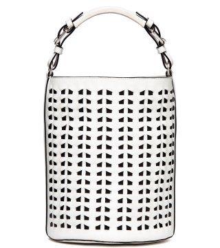 白色桶形编皮纹路拎包