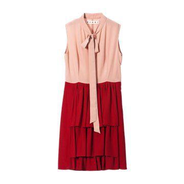 红色拼接款无袖连衣裙