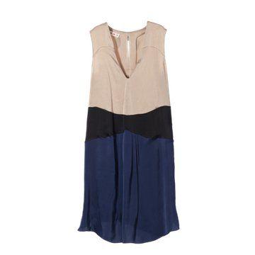 蓝色拼接款无袖连衣裙