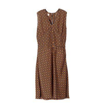 棕色小波点图案印花连衣裙