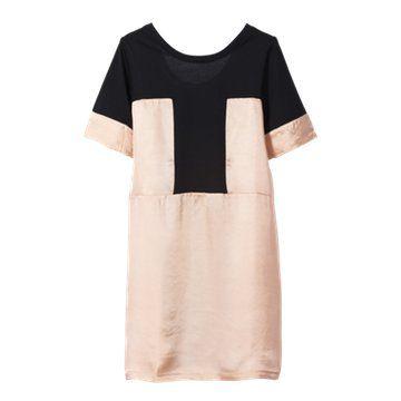 黑白撞色连衣裙