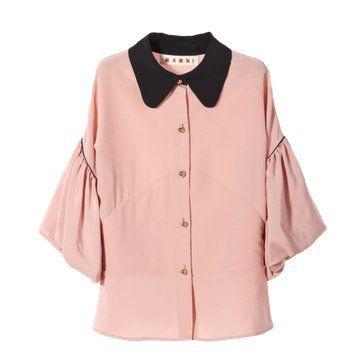 粉色七分娃娃袖衬衫