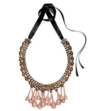瓷釉金属水滴坠项链