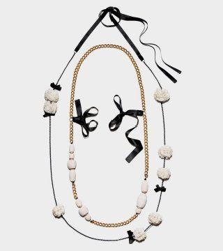 瓷釉金属坠珠项链