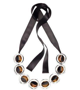 茶金框边饰缎带项链