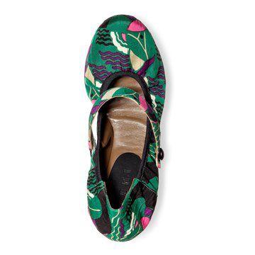 绿色童趣印花平底单鞋