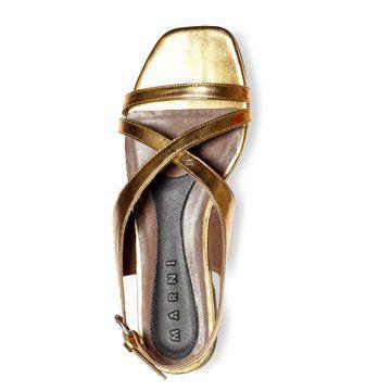 金色交叉细绑带平底鞋