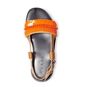 橘红色亮片装饰凉鞋