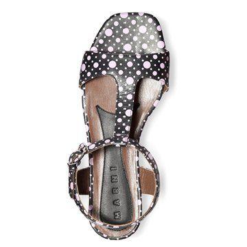 浅紫色波点印花凉鞋