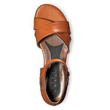 橘色羊皮平底鞋