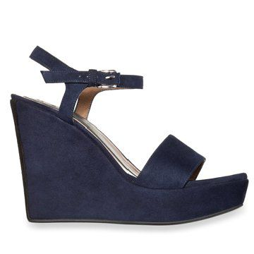 宝蓝色麂皮坡跟鞋