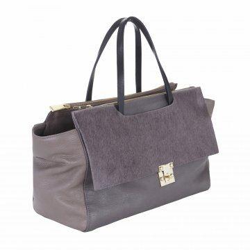 灰色拼色手提包