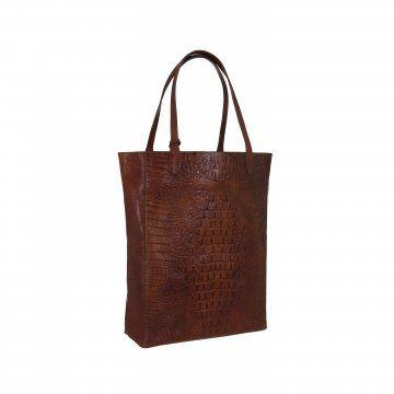 棕色鳄鱼皮购物袋
