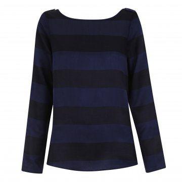 蓝黑色条纹长袖T恤