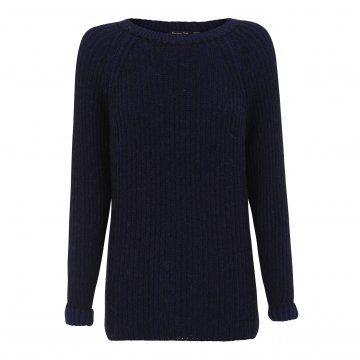 蓝黑色条纹针织衫