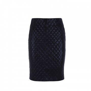 黑色菱格纹修身半裙