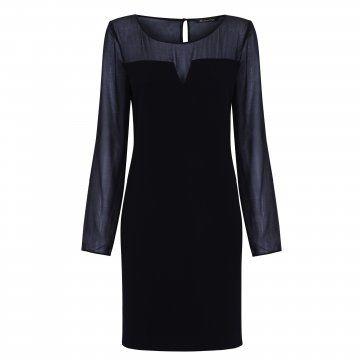 黑色网纱拼接连衣裙