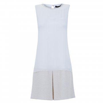 白色无袖拼接连衣裙