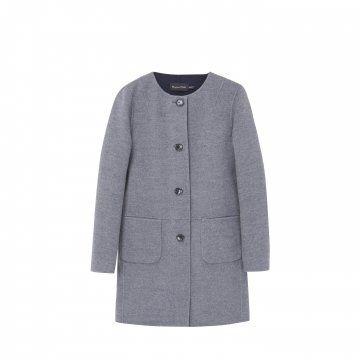 灰色无领箱型外套