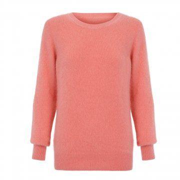珊瑚红兔毛针织衫